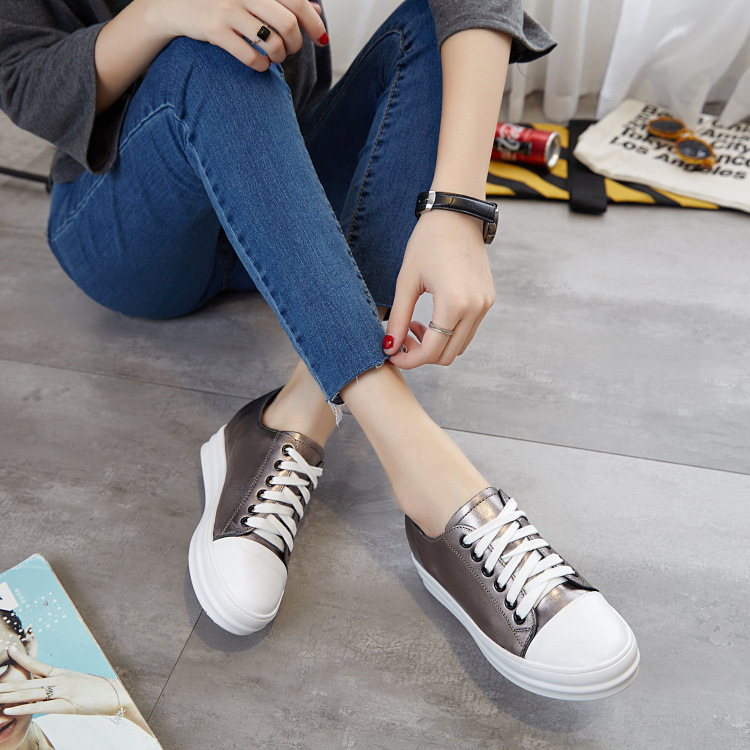ФОТО 2016 Autumn Korean style lace up muffin bottom leather casual shoes