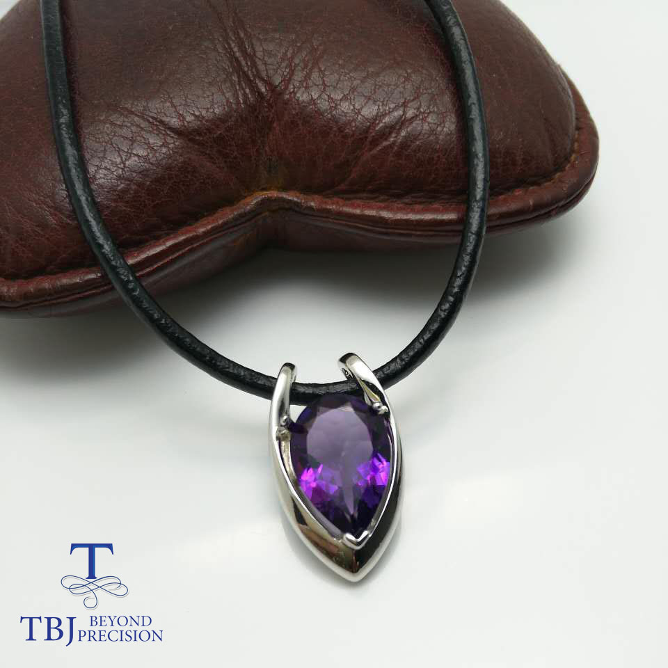 цена на TBJ ,V shape pendant in 925 sterling silver with nautral Amethyst with gift box,elegant design pendants