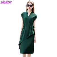 High quality silk dress for women 2018 summer silk short sleeve pullovers top Plus size slim female elegant dresses IOQRCJVH449