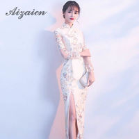 High Split Qipao Long Chinese Traditional Wedding Dress Lace Modern Cheongsam Oriental Dresses Summer Women Sexy Flowers