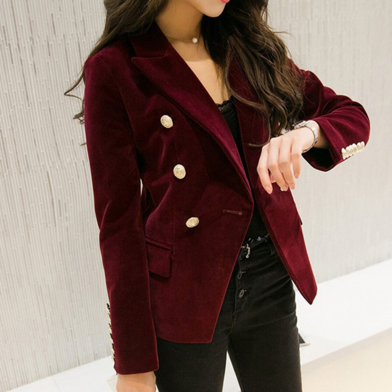 M-2XL OL Formal Work Suit Jacket Blazers Women Autumn Velvet Blazer Slim Long Sleeve Ladies Blazers Full Size