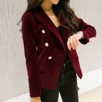 M 2XL OL Formal Work Suit Jacket Blazers Women Autumn Velvet Blazer Slim Long Sleeve Ladies Blazers Full Size