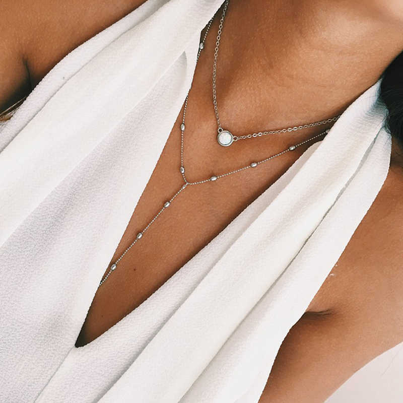 Poputton Fashion okrągły biały żywica Chokers naszyjniki dla kobiet biżuteria srebrny złoty kolor choker łańcuszek naszyjnik Collier Femme