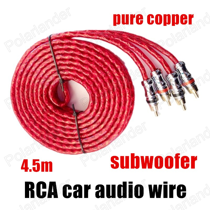 car audio subwoofer wiring promotion shop for promotional car a new red for amplifier speaker subwoofer rca to rca car audio cable wire speaker wire stereo cable line pure copper 4 5m