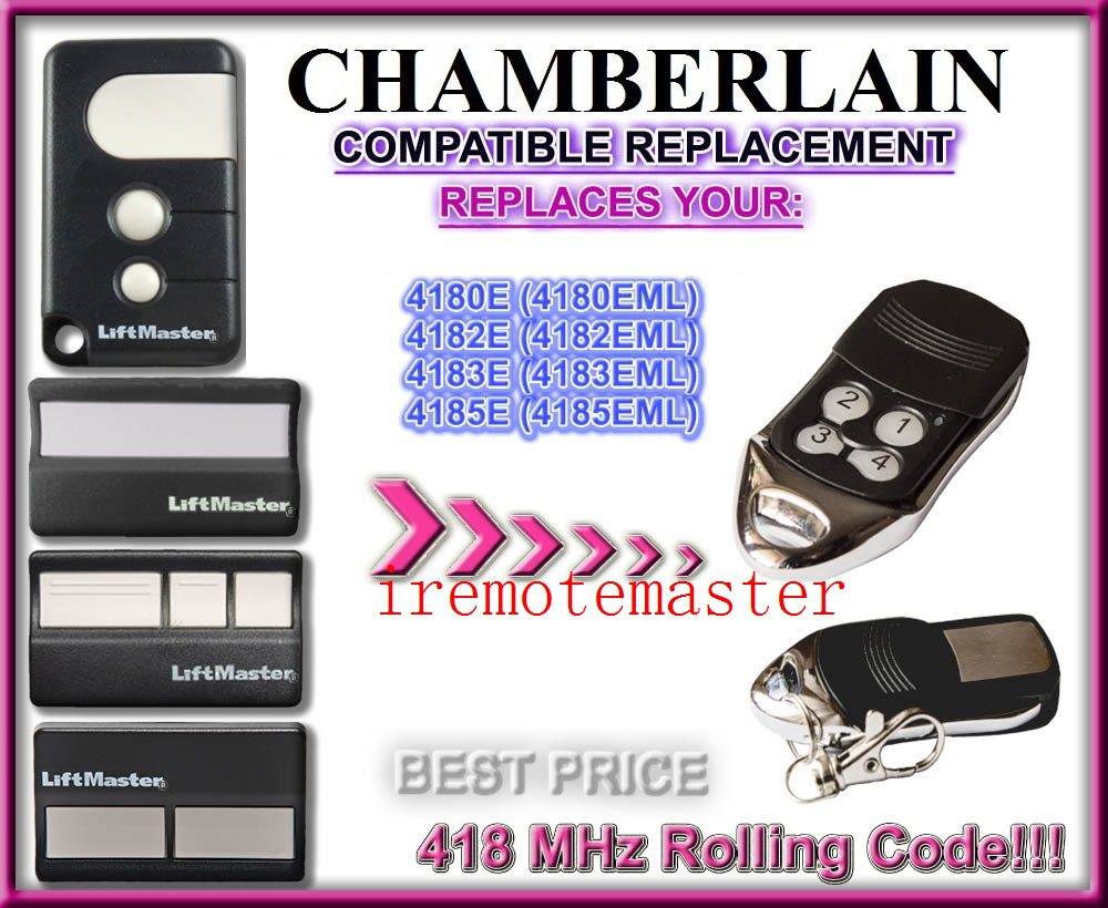 50pcs Chamberlain liftmaster 4185EML 4183EML 4182EML 4180EML compatible 418MHZ remote control DHL free shipping
