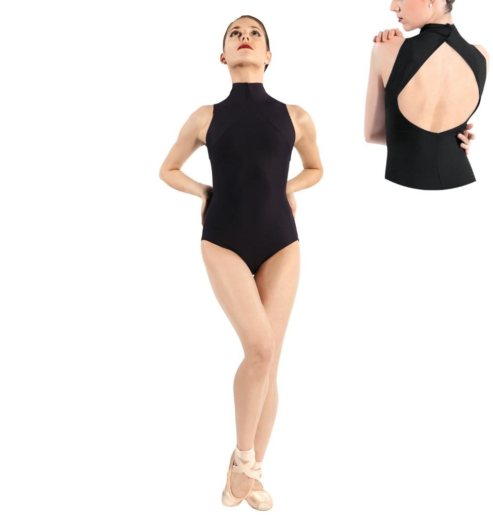 Women Mock Turtleneck Tank Leotard Lycra Spandex Gymnastics Leotard Bodysuit Sleeveless Short Unitard Dance Costume Open Back