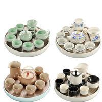 Home use Chinese Ru kiln Kung Fu teaware Set Teapot cups set ceramic dry tea tray sets Japanese simple small tea table tea sea