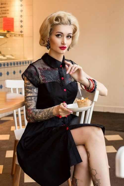 30- summer women vintage 50s red heart button seethrough dress in black rockabilly  pinup swing df812b2cd694