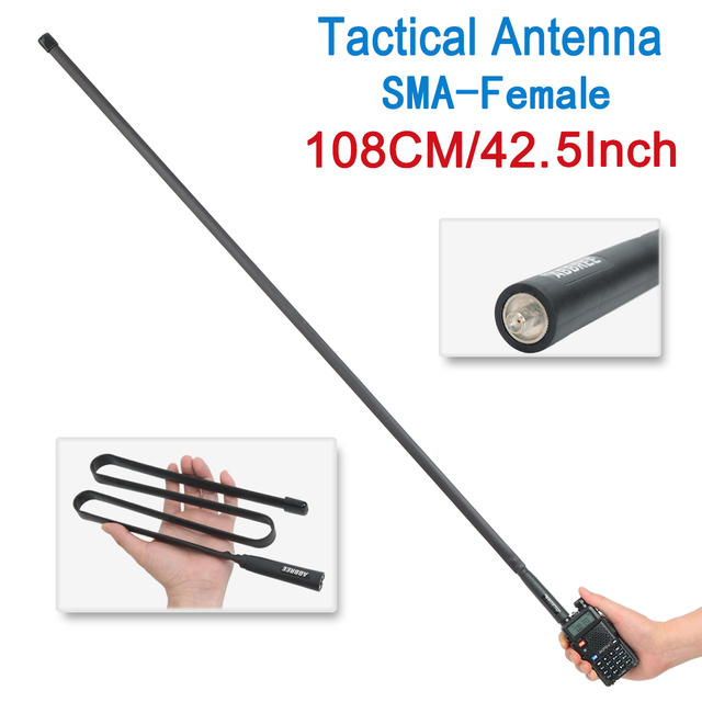 Abbree sma-female vhf uhf dual band 144/430mhz foldable tactical antenna for walkie talkie baofeng uv-5r uv-82 kenwood tk-3207