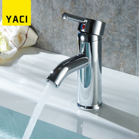Basin Faucet High Quality Hot And Cold Water Mini Stylish Elegant Bathroom Faucet Deck Mounted Chrome