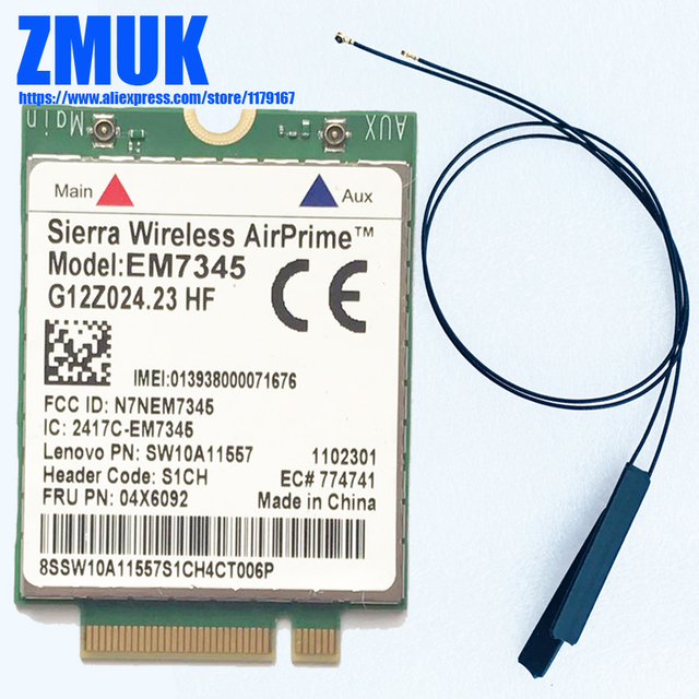 US $5 0 |EM7345 M 2 WWAN Card w/ 2pcs Antennas For Lenovo Thinkpad T440  T540P W540 X240 X250 X1 Carbon, Helix 2nd Gen Series,P/N 04X6092 -in  Network