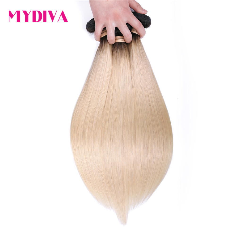 1B 613 Ombre Blonde Brazilian Straight Hair Weave Bundles 2 Tone Dark Roots Platinum Color Non Remy Human Hair Extensions Mydiva