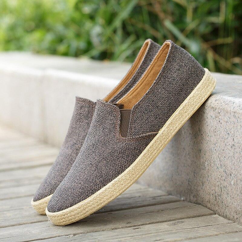 2019 Men Canvas Shoes Breathable Men s Loafers Slip on Solid Hemp Mens Trainers Espadrilles Men