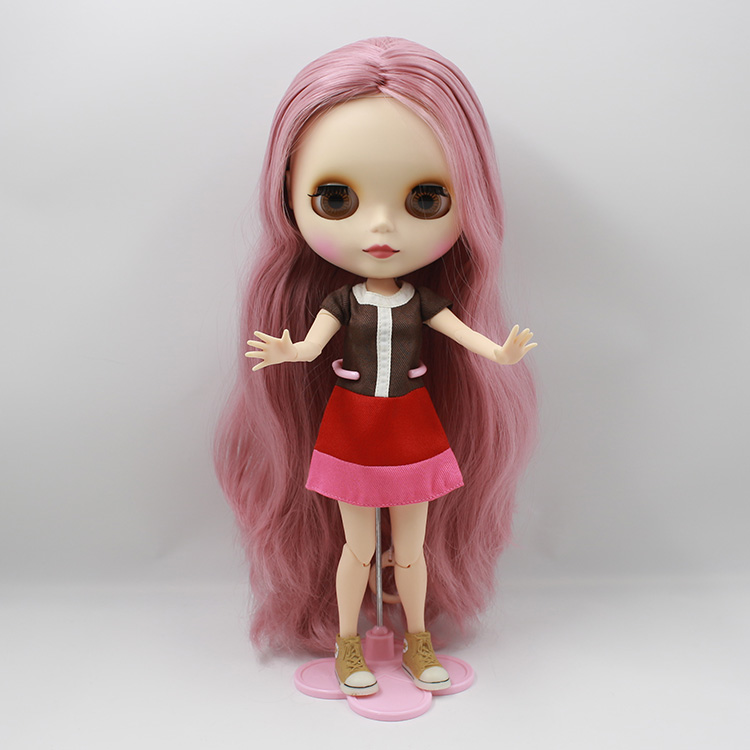 Sweet Nude Blyth doll diy makeup face pink long hair in AB blyth doll with joint body bjd baby dolls for girls gifts
