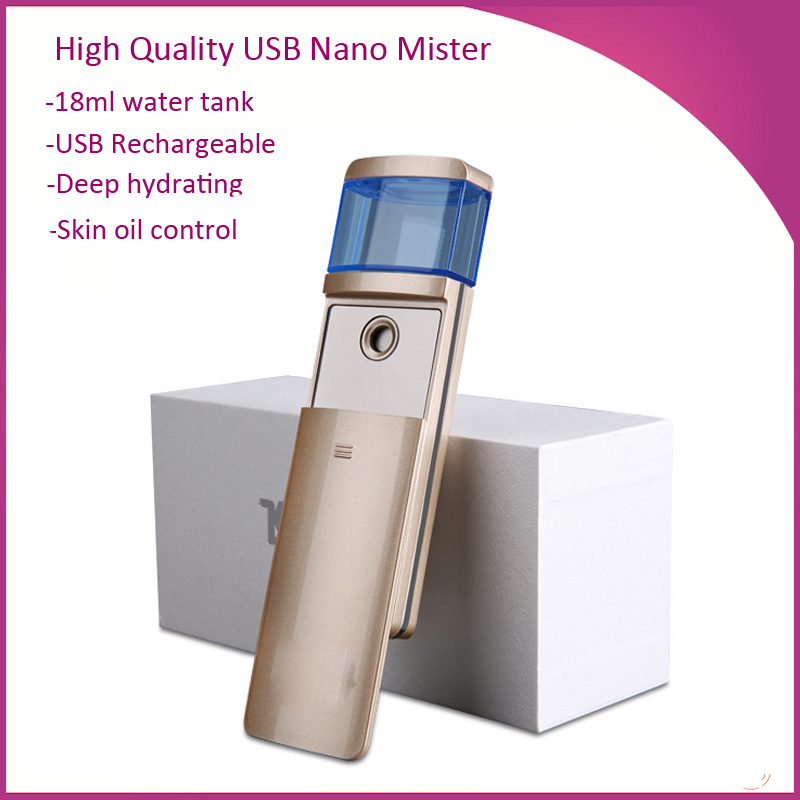 Free Shipping 18ML Water Tank USB Rechargeable Portable Nano Ozone Facial Steamer Mist Sprayer от Aliexpress INT