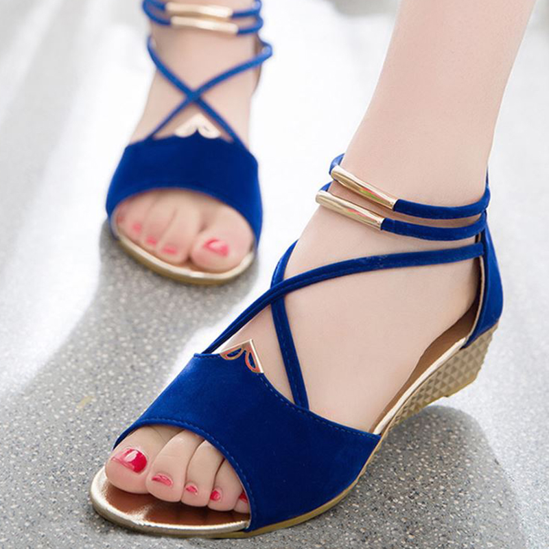 Summer Women Gladiator Casual Wedges Sandals Suede Mid Heels Sandals For Women peep Toe Fashion Shoes Ladies Gladiator Sandalias 2018 summer new arrived strap design wedges women sandals peep toe comfort mid heel sexy lady sandal fashion student casual shoe