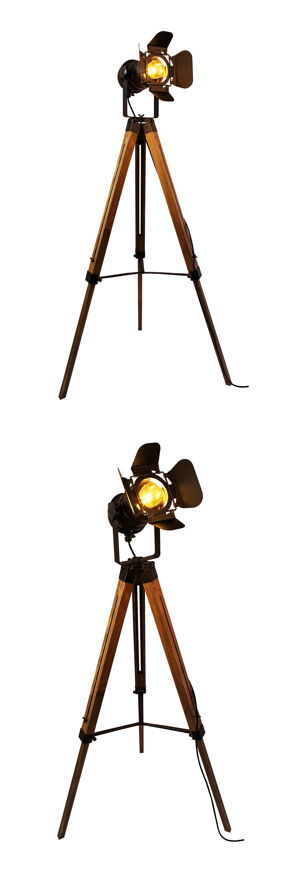 светодиод деревянный пол лампы стабильный американский лофт регулируемая ночной этаж стоят фары лампа с бар домашнего освещения для гостиной
