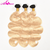 Ali Coco Hair Brazilian Body Wave Ombre Hair Weave Human Hair Bundles 1B/613 Color 2 Tone Blonde Remy Hair Weft Can Be Dyed