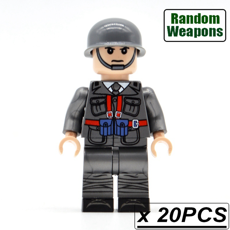 20PCs/lot WW2 Soldiers Italy France Army Military with Weapons Building Blocks Bricks Figurine Kids Toys military city police swat team army soldiers with weapons ww2 building blocks toys for children gift