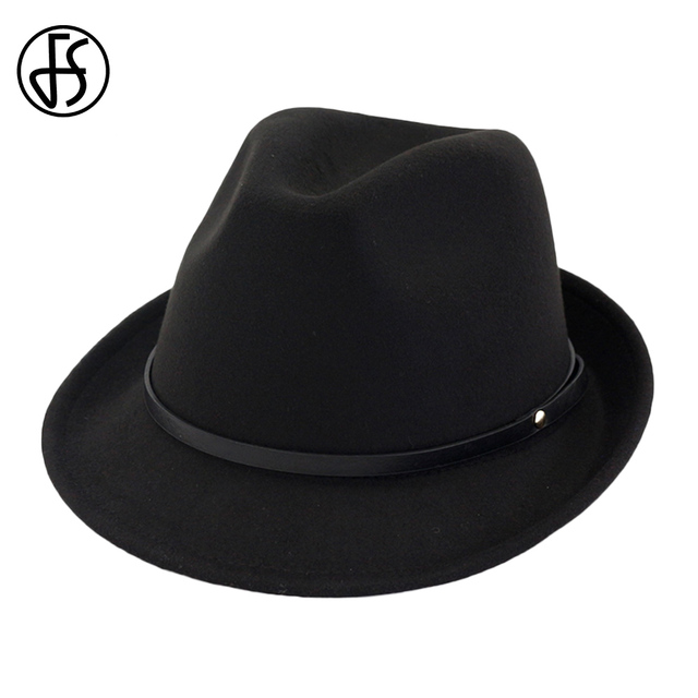 c1ebc2d47d US $13.86 37% OFF|FS Autumn Black Red Felt Hats Women Men Vintage Fedora  Gentleman Gangster Hat Godfather Church Wide Brim Lady Elegant With Belt-in  ...