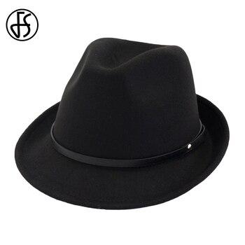 FS otoño negro rojo fieltro sombreros mujeres hombres Vintage Fedora Caballero sombrero de gánster padrino Iglesia ala ancha señora elegante con cinturón