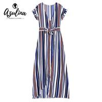 AZULINA Sexy Maxi Beach Dress Women Short Sleeve Deep V Neck Striped Surplice Long Summer Dress