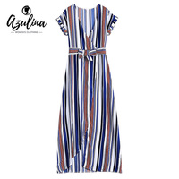 AZULINA Sexy Maxi Beach Dress Women Short Sleeve Deep V Neck Striped Surplice Long Summer Dress