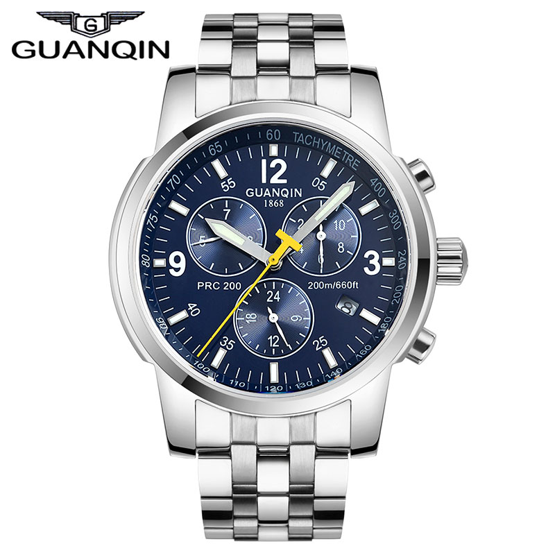 Original GUANQIN Men Mechanical Watches Men Luxury Brand Full Steel Waterproof 100m Business Automatic Wristwatches For Men 18cm neca terminator 2 judgment day t 800 arnold schwarzenegger pvc action figure collectible model toy