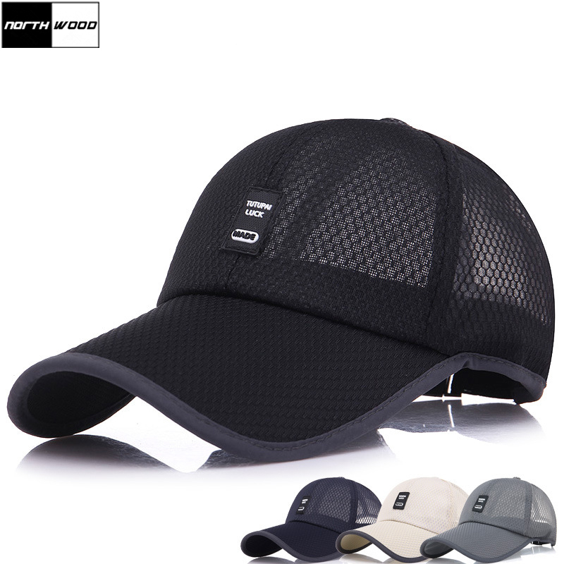 [NORTHWOOD] 2018 New Fashion Summer   Cap   Mesh   Baseball     Cap   Men Women Long Brim Snapback Trucker   Cap   Solid Casquette Homme
