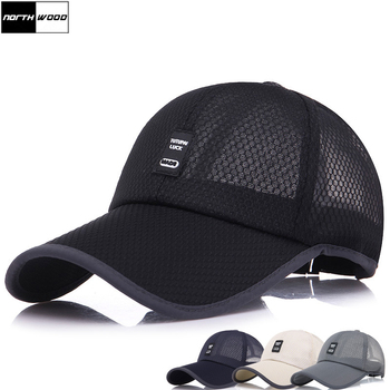 цена на [NORTHWOOD] Summer Cap Mesh Baseball Cap Men Women Long Brim Snapback Trucker Cap Solid Casquette Homme