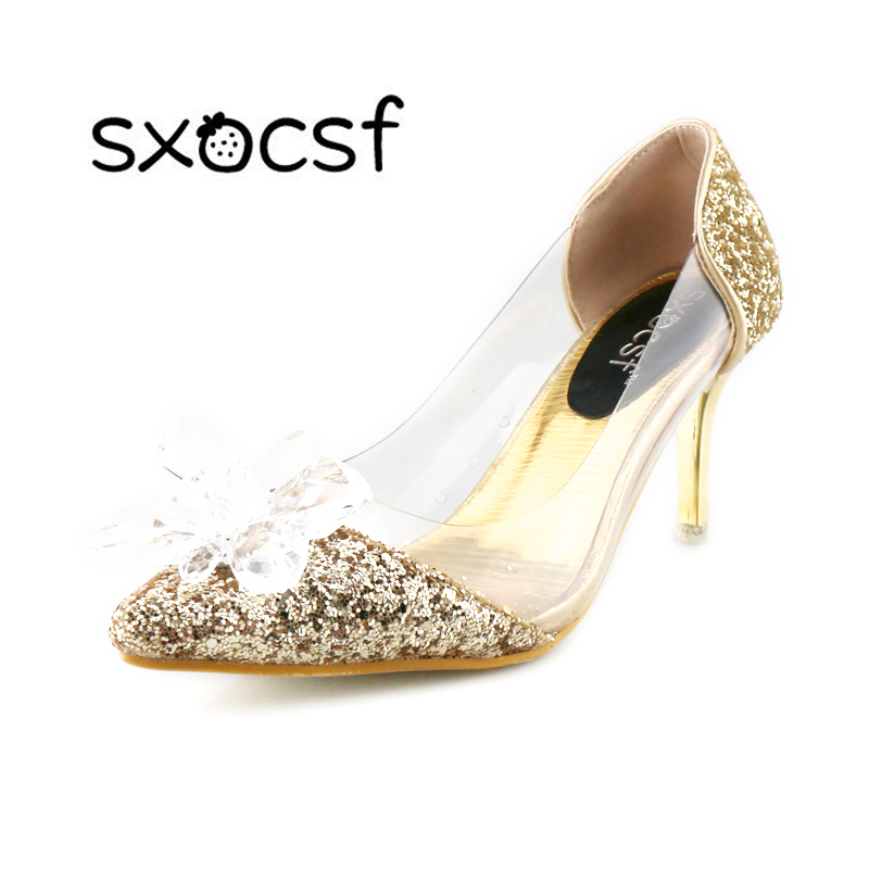 цены на Plus Size Cinderella Shoes Low Heels Ladies Pumps Women Wedding Party Shoes Thin Heel Rhinestone Butterfly Crystal Dress Shoes в интернет-магазинах