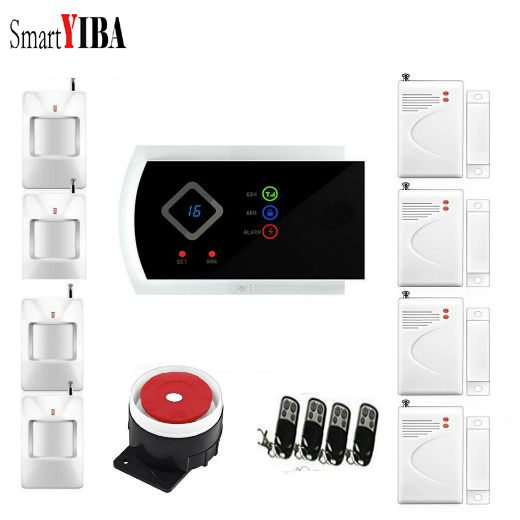 цены SmartYIBA Russian Spanish Italian French Voice Wireless 433MHZ GSM SMS Home Burglar Security Alarm System APP Remote Control