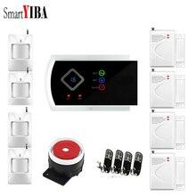 SmartYIBA Russian Spanish Italian French Voice Wireless 433MHZ GSM SMS Home Burglar Security Alarm System APP Remote Control