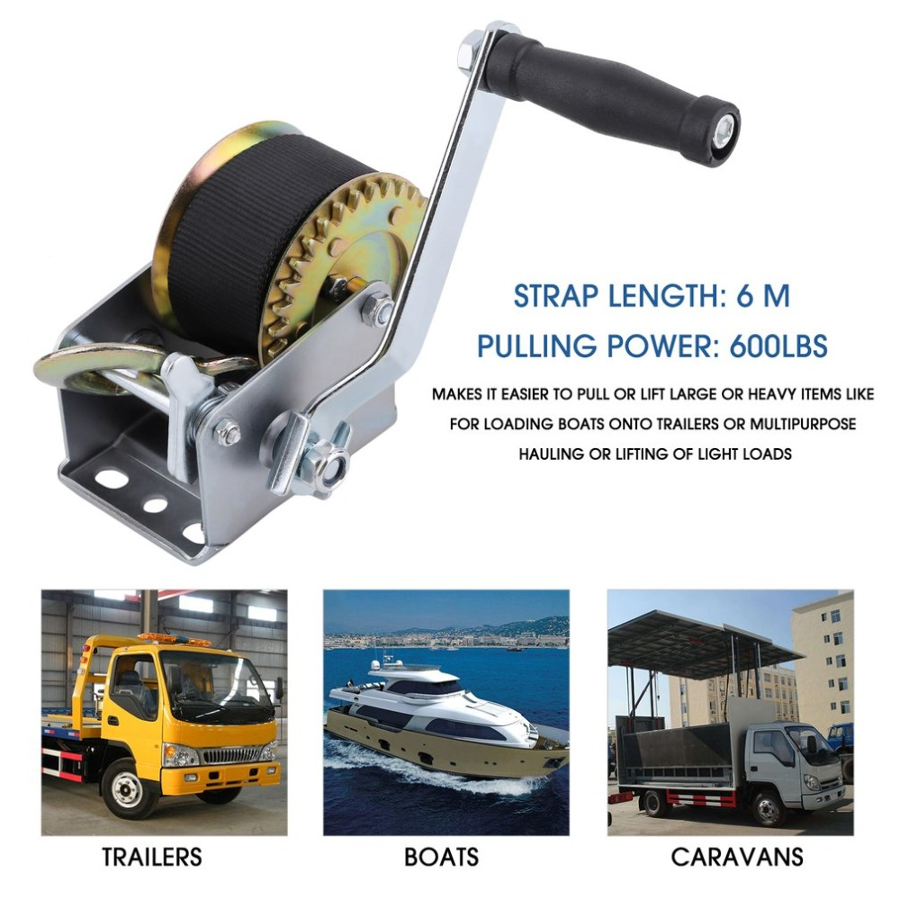 Manual Hand Winch 600lbs For Boat Trailer Caravan Without Cable Marine Puller UK