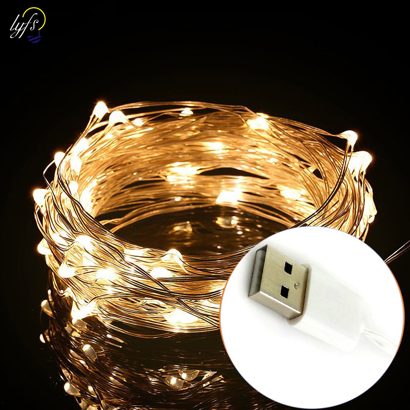 LYFS 5m 50 LED USB Power Copper Wire LED String Lights For Holiday Party Wedding Garland Christmas Decoration Lamp