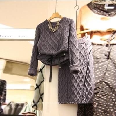 2017 New Winter Fashion 2 Piece Knit Set Women Vintage O Neck Long Sleeve Slim Pullover