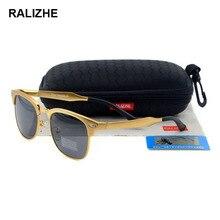 RALIZHE Mens Womens Polarized Sunglasses Designer Aluminum Magnesium Classic Retro Square Sun Glasses UV400 Driving Fishing