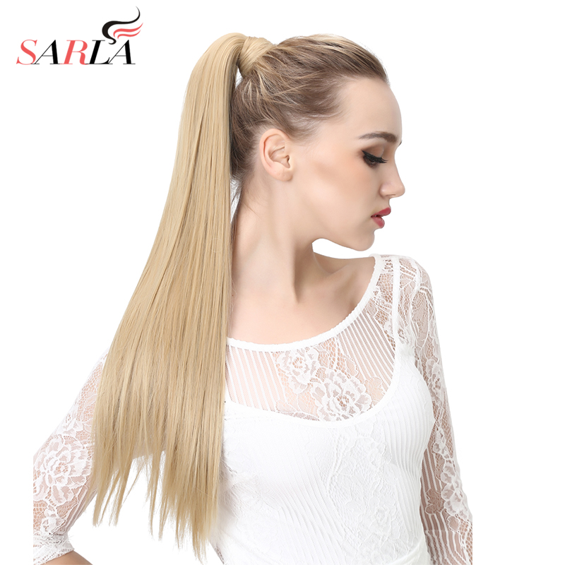 SARLA 200PCS Drawstring Ponytail Long Straight Synthetic Wrap Heat Resistant High Temperature Hair Extension 24 28