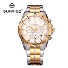 AMANECER de Oro Para Hombre Relojes de lujo Calendario Impermeable Reloj de Cuarzo de Zafiro Hombres Moda Casual Reloj relogio masculino DM760