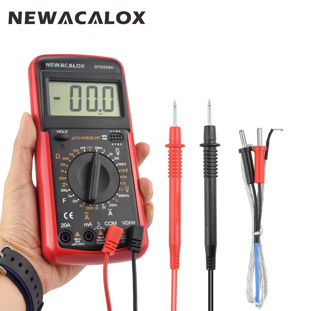 NEWACALOX Digital Multimeter with Temperature Measurement AC/<font><b>DC</b></font> Voltage Current Resistance Capacitance hFE Tester Tool LCD image