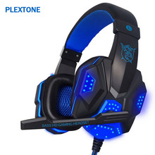 ФОТО wired deep bass gaming headphone over-ear gamer headset headband with mic stereo earphone with light for computer pc gamer