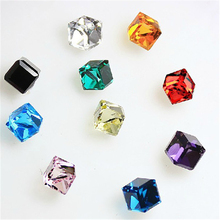 Sale 1 pair Temperament Square Crystal Stud Earrings 5 Colors Trendy Cute Piercing Ears Fashion Jewelry