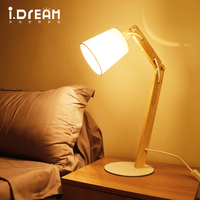 IDERAN Wooden Desk Lamp Table Lamp Indoor Lights Flexible Memory Function Touch Sensitive Dimming Levels 2