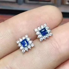 natural sapphire stone stud earrings 925 silver Natural blue gemstone earring women fine square stud earrings jewelry for party