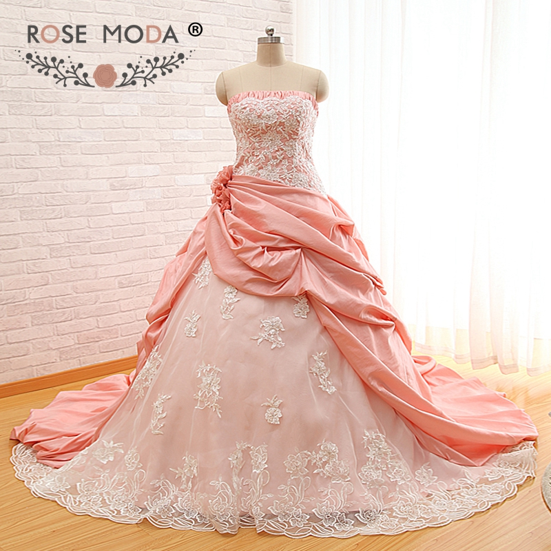 Rose Moda Blush Pink Peach Wedding Dress Strapless Lace Wedding Dresses Plus Size Lace Up Back Real Photos