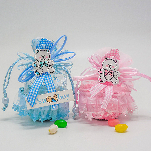 Baby Shower Party Favor Yarn Basket Candy Box With Ribbons Bear Pattern  Christening Boy Girl Birthday
