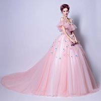 New Pink Quinceanera Dresses Off The Shoulder Spaghetti Straps Handmade Flowers Puffy Ball Gowns Sweep Train Quinceanera Gowns