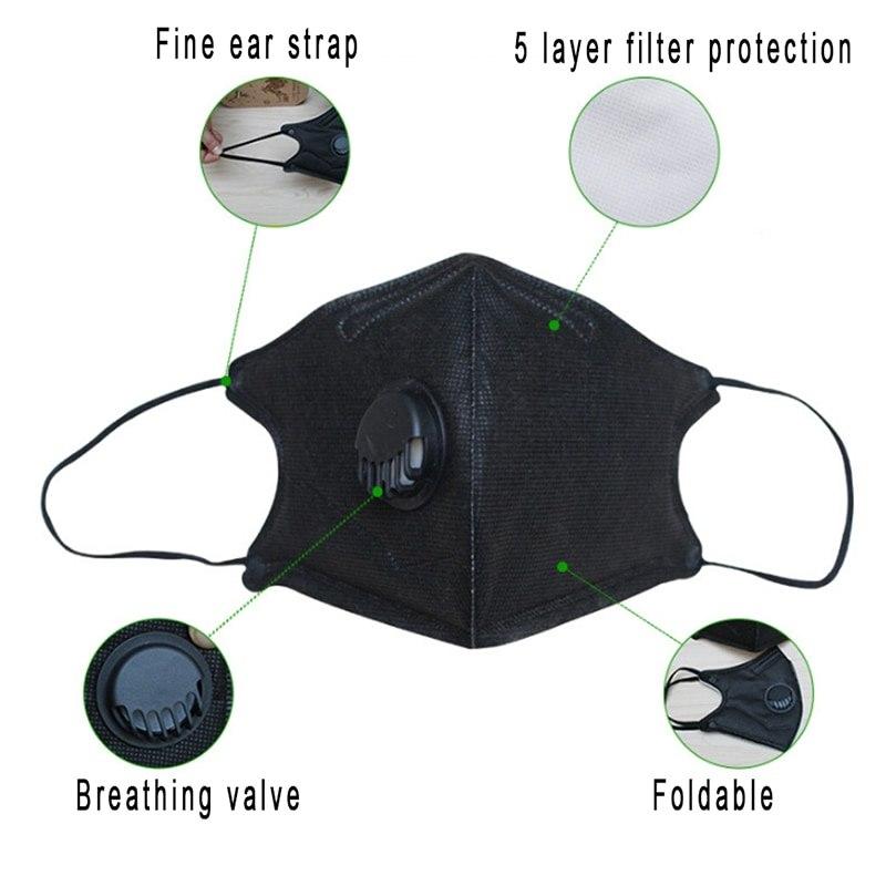 1 Pc Anti-polvo De La Máscara De La Boca Con Una Válvula De Respiración De Filtro De Carbono Activado Respirador Máscara De Algodón Pm2.5 Anti Haze Máscara Efecto Evidente