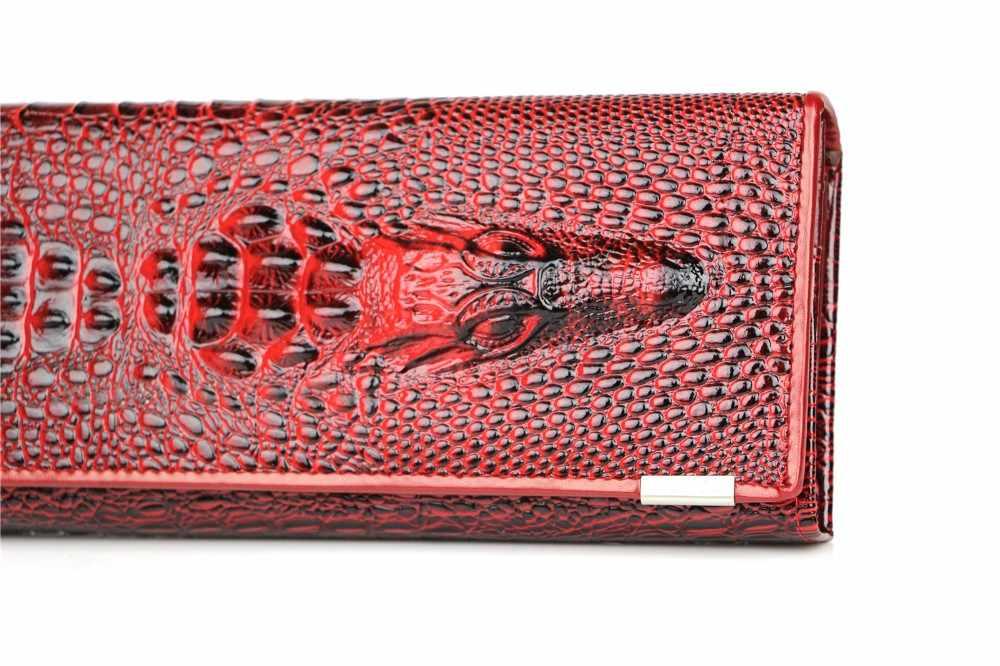 Echt Leer 3D Embossing Alligator Dames Krokodil Lange Clutch Portefeuilles Vrouwen Portemonnee Vrouwelijke Portemonnees Houders Merk