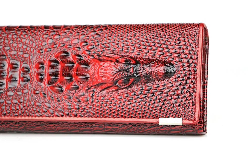 Genuine Leather 3D Embossing Alligator Ladies Crocodile Long Clutch Wallets Women Wallet Female Coin Purses Holders